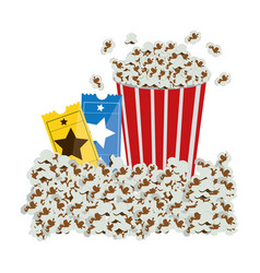 color background with popcorn container and movie vector image vector image
