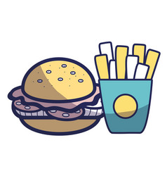 Delicious hamburger with tasty fries french vector