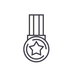 medal star line icon sign vector image