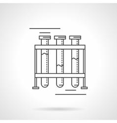 Test-tubes rack flat line design icon vector image vector image