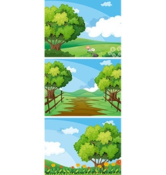 Three scenes of countryside with trees and tracks vector image vector image