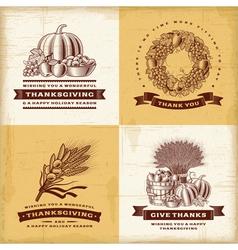 Vintage Thanksgiving labels set vector image vector image
