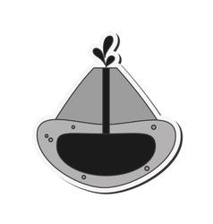 Volcano cross section icon vector