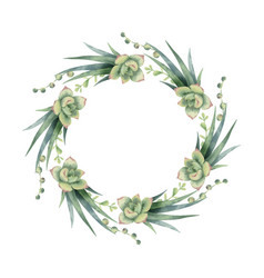 Watercolor wreath of cacti and succulent vector