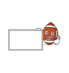 american football character cartoon with board vector image vector image