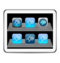Film blue app icons vector image