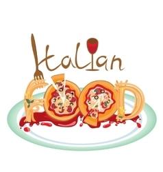Image of Italian food as pizza and spaghetti vector image