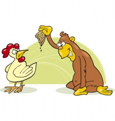 monkey and chicken vector image vector image
