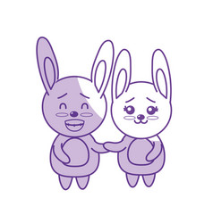 Silhouette cute couple rabbit wild animal with vector