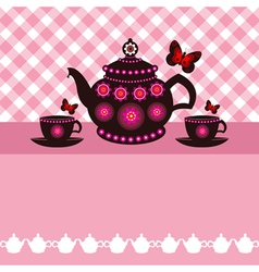 tea pot and tea cups vector image