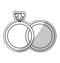 wedding rings jewelry outline vector image