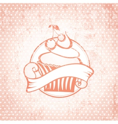 Cherry Cupcake Label vector image