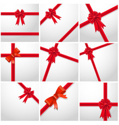 gift ribbon red bow collection set vector image