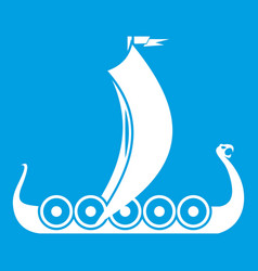 medieval boat icon white vector image