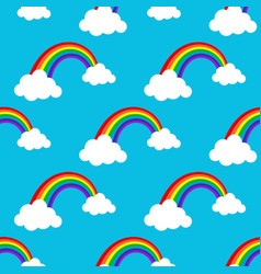 rainbows and clouds seamless pattern vector image