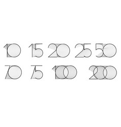 10 15 20 25 50 70 75 100 200 vector image