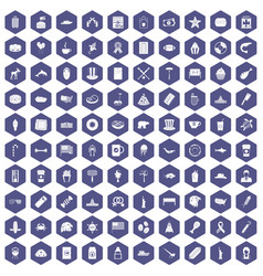 100 usa icons hexagon purple vector