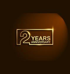 2 years anniversary golden design line style vector
