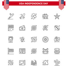 25 usa line pack independence day signs and vector