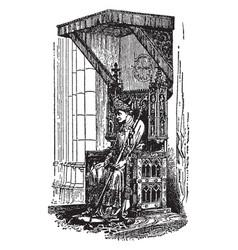 A bishop sitting on bishops throne called vector