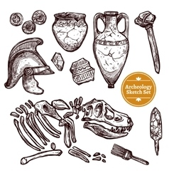 Archeology Hand Drawn Sketch Set vector