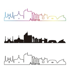 Astana skyline linear style with rainbow vector