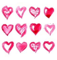 Big set of pink watercolor hearts vector image
