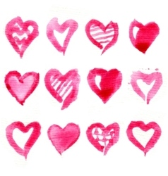 big set pink watercolor hearts vector image