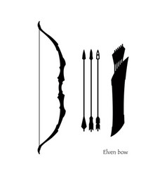 Black silhouettes of elven bow with arrows vector