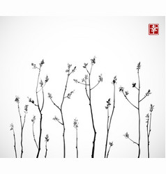 Black tree branches with fresh leaves on white vector