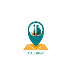 canada calgary map pin point icon vector image