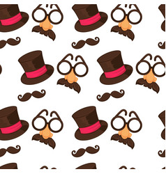 Carnival hat and moustache with glasses and nos vector
