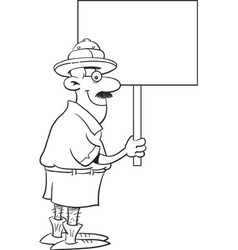Cartoon Explorer Holding a Sign vector image