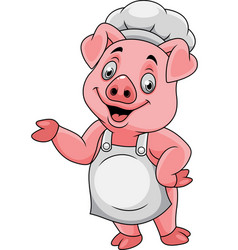 cartoon happy pig chef presenting vector image