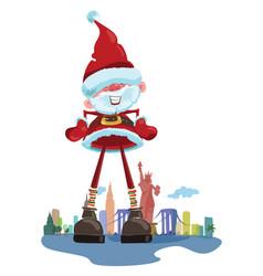 cartoon santa claus on background new york vector image