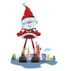 cartoon santa claus on the background of new york vector image