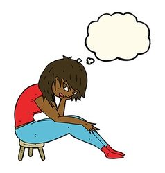 Cartoon woman sitting on small stool with thought vector