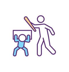 Children abuse rgb color icon vector