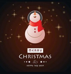 christmas card with glitters and snow man vector image