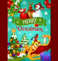 christmas greeting banner with winter holiday gift vector image