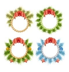Christmas traditional holly wreaths set vector
