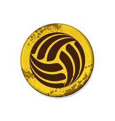 circle yellow volleyball grunge frame vector image