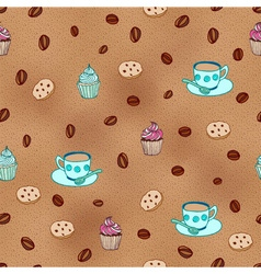Coffee and cupcakes seamless pattern vector image