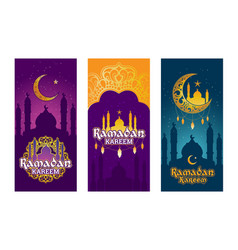 Collection of colored banners for ramadan vector