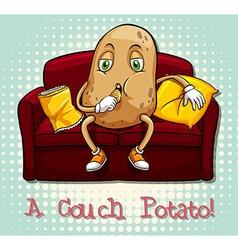 Couch potato idiom concept vector