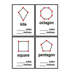 Count sides and vertices shapes worksheet for pres vector