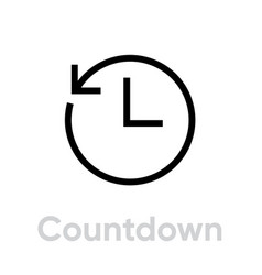 countdown icon editable outline vector image