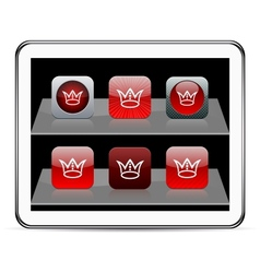 Crown red app icons vector image