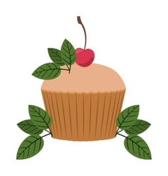 Cupcake decorated with cherry and leaves vector