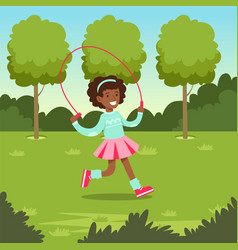Cute smiling african girl jumping with skipping vector